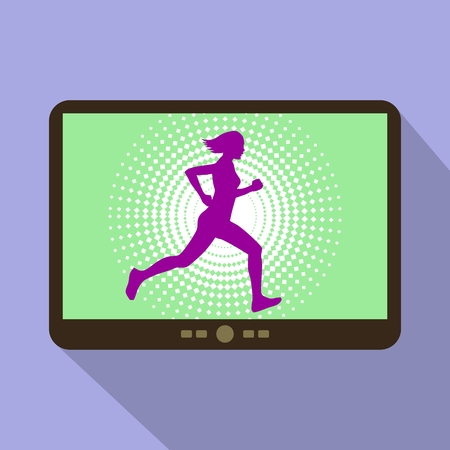 woman tablet: Watch sports on tablet. Athletic woman silhouette running. Illustration
