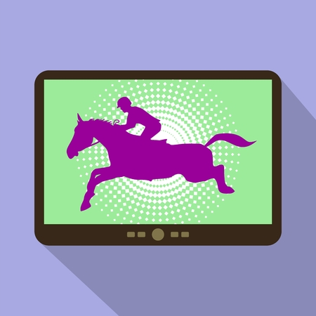 Watch sports on tablet. Horse Jumping, Equestrian Sports silhouette.