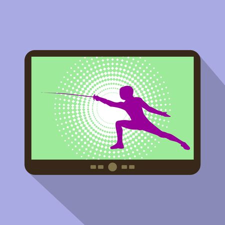 swordsmanship: Watch sports on tablet. Silhouette with the sword practicing in fencing. Illustration