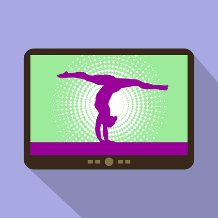 woman tablet: Watch sports on tablet. Woman handstand. Artistic gymnastics Woman silhouette. Illustration