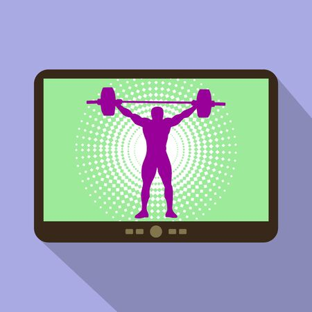 heaviness: Watch sports on tablet. Athlete silhouette weightlifting.