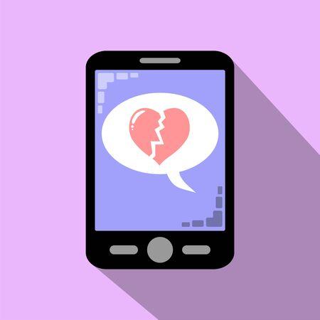 separation: Smartphone icon broken heart , separation of couple
