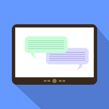 parley: Chatting symbol. Tablet Icon Vector Illustration.