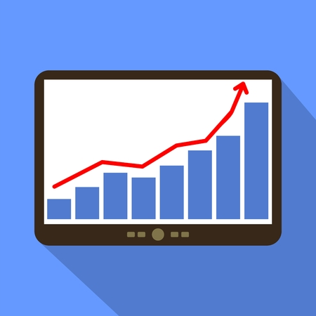 sales graph: Business Sales graph and chart Tablet Icon Vector Illustration.