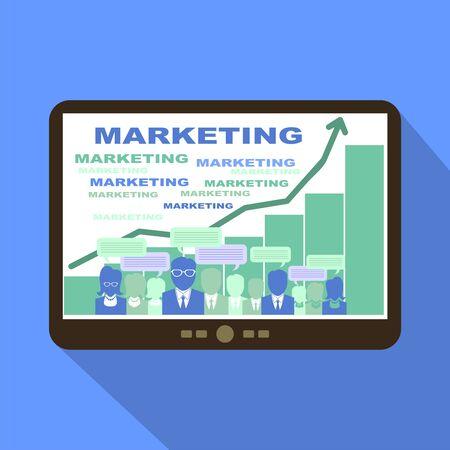 teammates: Brainstorming Marketing Tablet Icon Vector Illustration. Illustration