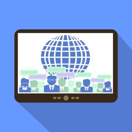teammates: Global Team Work Tablet Icon Vector Illustration. Illustration