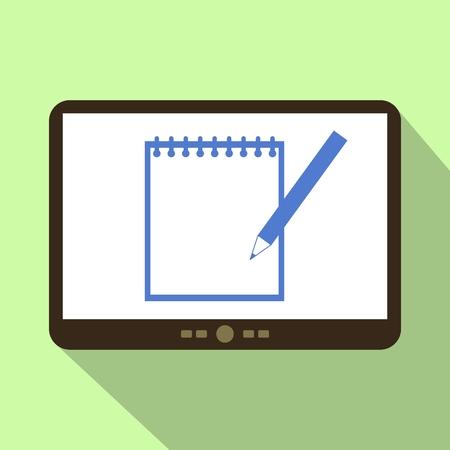 Memo Tablet-Symbol Vektor-Illustration.