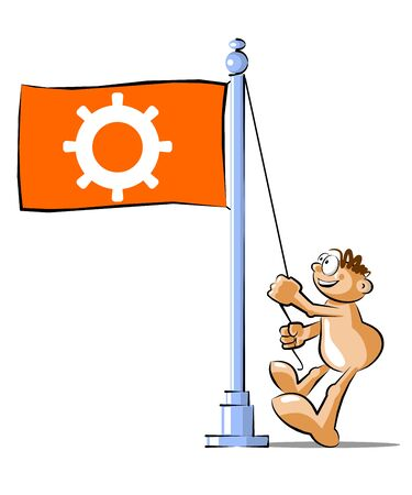 helm: Funny Cartoon raising a flag with a symbol of Helm. Conceptual illustration Vector Illustration