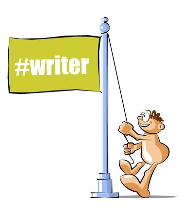 microblogging: Funny Cartoon raising a flag with the writter hashtag. Conceptual illustration Vector Illustration