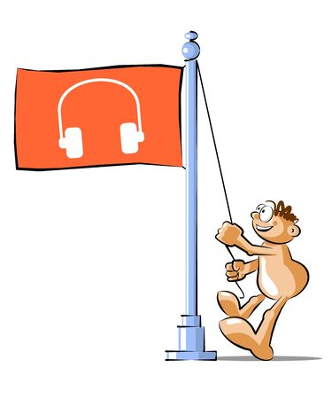 raise the white flag: Funny Cartoon raising a flag with the symbol of headphones. Conceptual illustration Vector