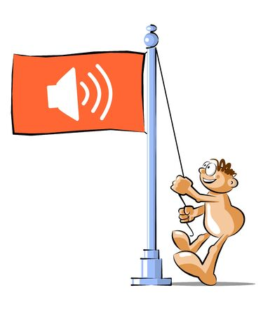 speakers: funny Cartoon raising a flag with the symbol of high speakers. Conceptual illustration Vector Illustration