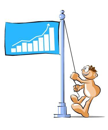Funny Cartoon raising a Business Success flag. Conceptual illustration Vector