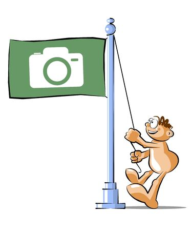 Funny Cartoon raising a flag with photographic camera symbol. Conceptual illustration Vector Illustration