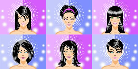 burnish: Heads of beautiful women brunettes. Illustration, vector