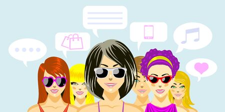 cel: Beautiful women friends at shopping. Concept of chat between friends. Illustration, vector