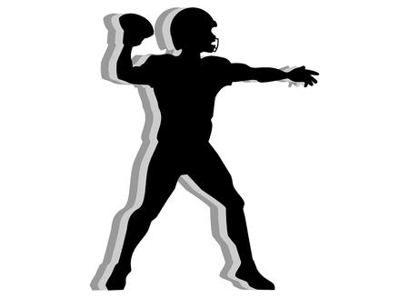 quarterback: American football quarterback silhouette isolated on white background Illustration