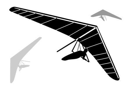 piloting: Three Hang Glider Silhouettes on white background