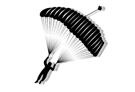 Skydiver, silhouette parachuting isolated on white