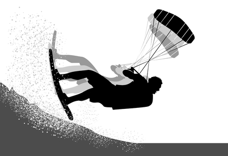 Extreme kite surfer silhouette flying and jumping on the waves Illustration