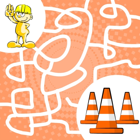 You can help the worker find his three traffic signaling cones