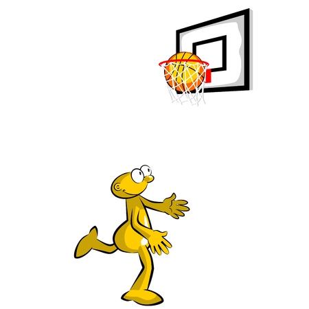 big ball: Basketball player throwing the ball into the basket - storyboard