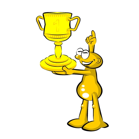 Storyboard: Funny cartoon. Winning man with his trophy Illustration