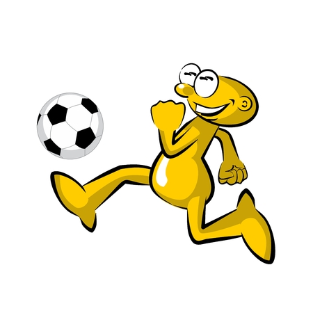 Funny soccer player practicing