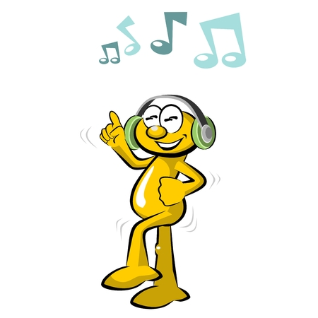 Funny dancing cartoon and musical notes, isolated on white background.