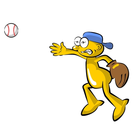 pitching: Funny baseball pitcher cartoon,  isolated on white background