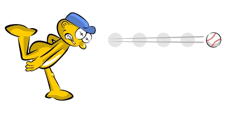 Funny baseball pitcher cartoon,  isolated on white background