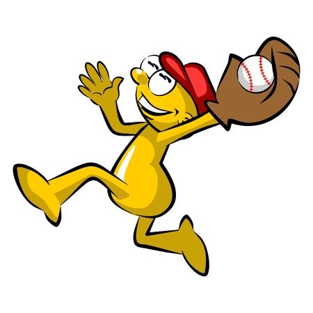 Storyboard: Funny cartoon catching the baseball Illustration