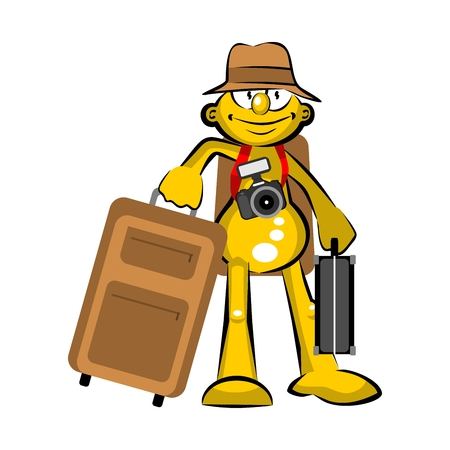 Storyboard: Tourist with suitcases. Conceptual illustration about tourism and travel