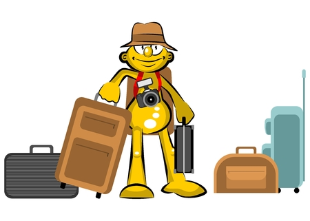 Tourist with suitcases. Conceptual illustration about tourism and travel