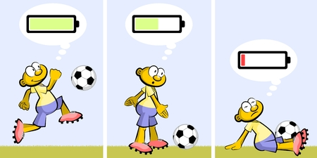 Active and positive Soccer player who gets tired and discouraged. Charged or discharged batteries, conceptual illustration