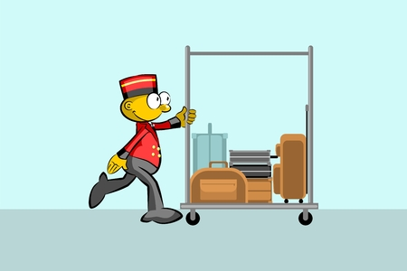 Bellboy and suitcases In the hallway of the hotel. Conceptual illustration about travels and hotels Illustration