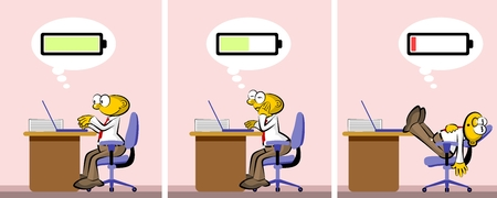 apathy: Active and positive office worker who gets tired and discouraged. Charged or discharged batteries, conceptual illustration Illustration