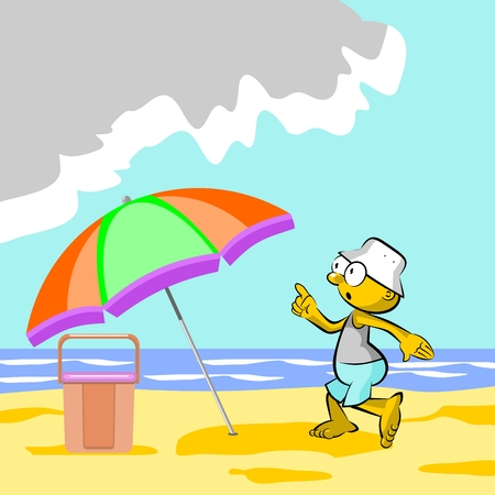 storyboard: Man on the beach and storm approaching  conceptual illustration