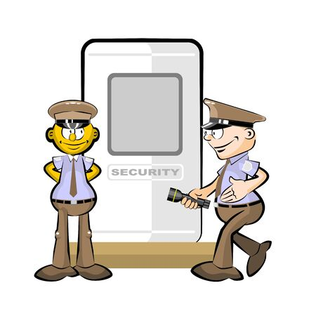 Two Guards and security booth isolated on white background Safety conceptual illustration