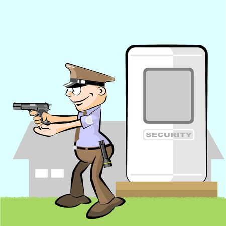 Guard armed with gun in hand. Guard and security booth at countryside. Custodying a factory Illustration