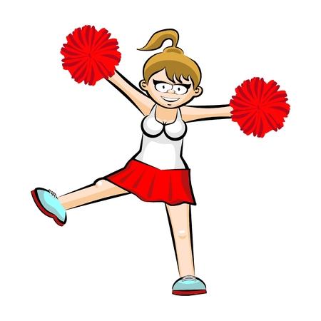 Funny Cheerleader cartoon  Red skirt. Conceptual illustration. Sports spirit of high school