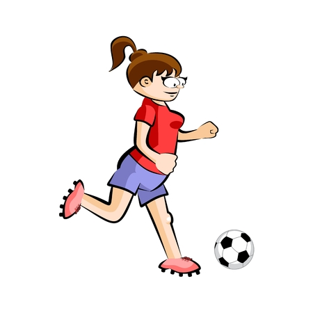 Female in red Soccer Player with Ball - Cartoon. Conceptual vector illustration isolated on white