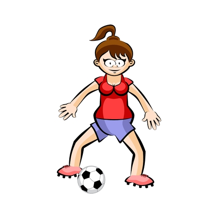 Female playing Soccer Player with Ball - Cartoon. Conceptual vector illustration isolated on white Illustration