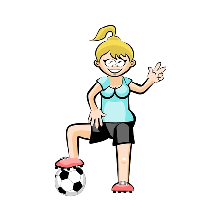 Female in blue Soccer Player with Ball - Cartoon. Conceptual vector illustration isolated on white