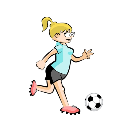 Female Soccer Player with Ball - Cartoon. Conceptual vector illustration isolated on white Illustration
