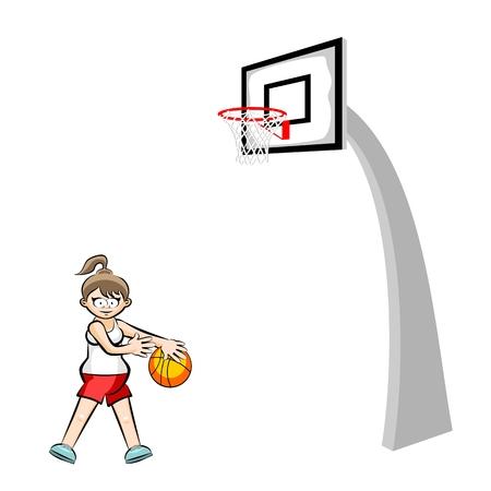 spinning: Teenage girl basketball player cartoon style. Conceptual sport illustration.
