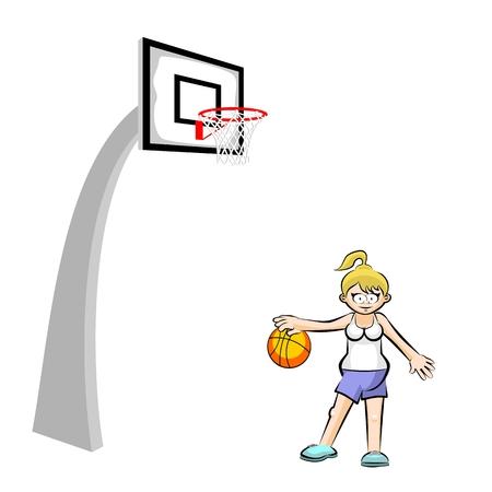 Teenage girl basketball player cartoon style. Conceptual sport illustration.