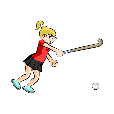 hockey players: Female hockey player on grass cartoon style. Conceptual illustration. Illustration