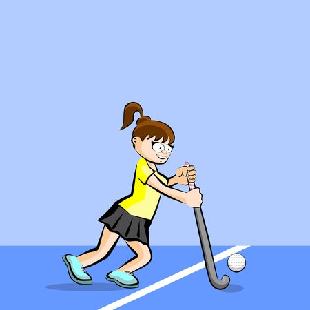 Female hockey player on grass cartoon style. Conceptual illustration. Illustration