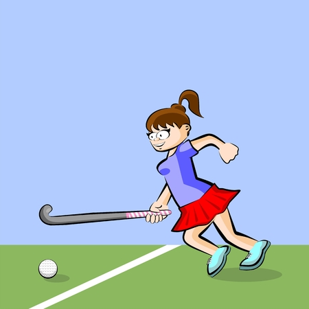 Female hockey player on grass cartoon style. Conceptual illustration. Çizim