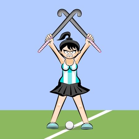 Vrouwelijke hockey speler op gras cartoon stijl. Conceptuele illustratie.